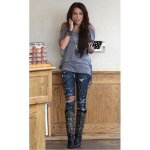 SIWY Hannah Jeans in 'Muse' Paint Drip! NWT